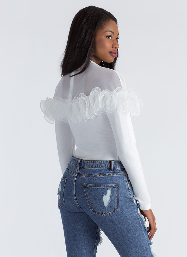 Frilled To Pieces Ruffled Mesh Inset Top WHITE