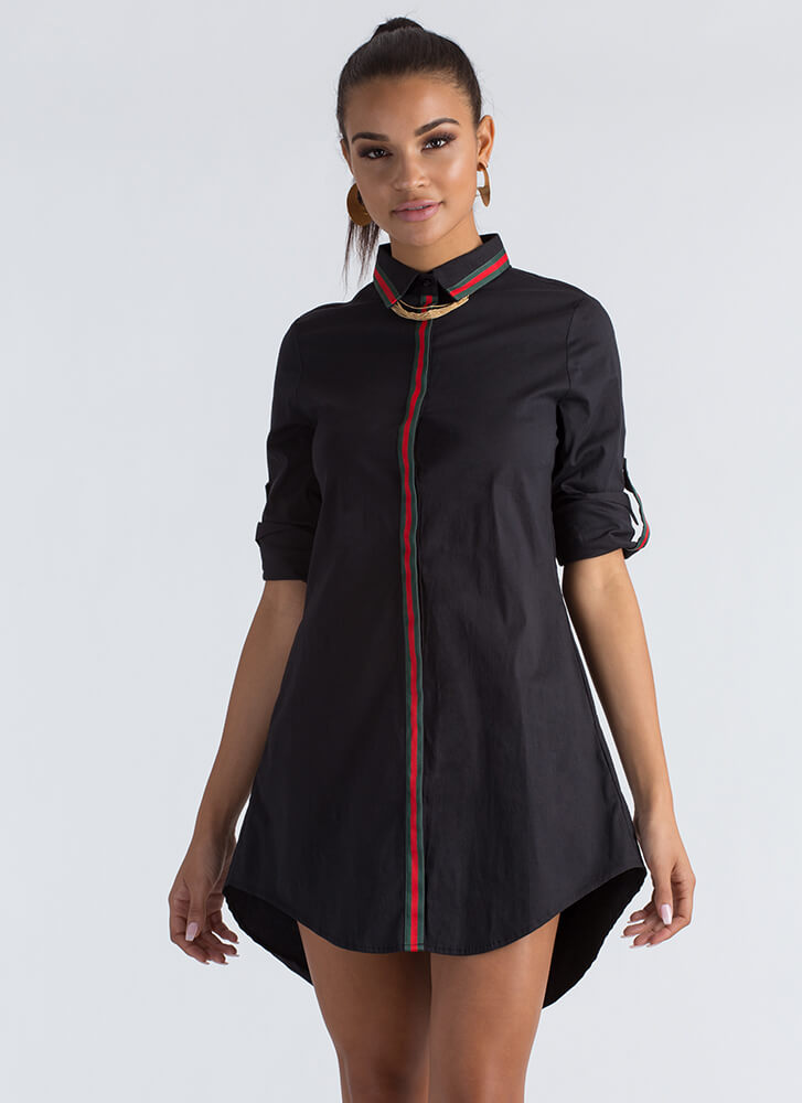 Clean Lines Striped Collared Shirt Dress BLACK