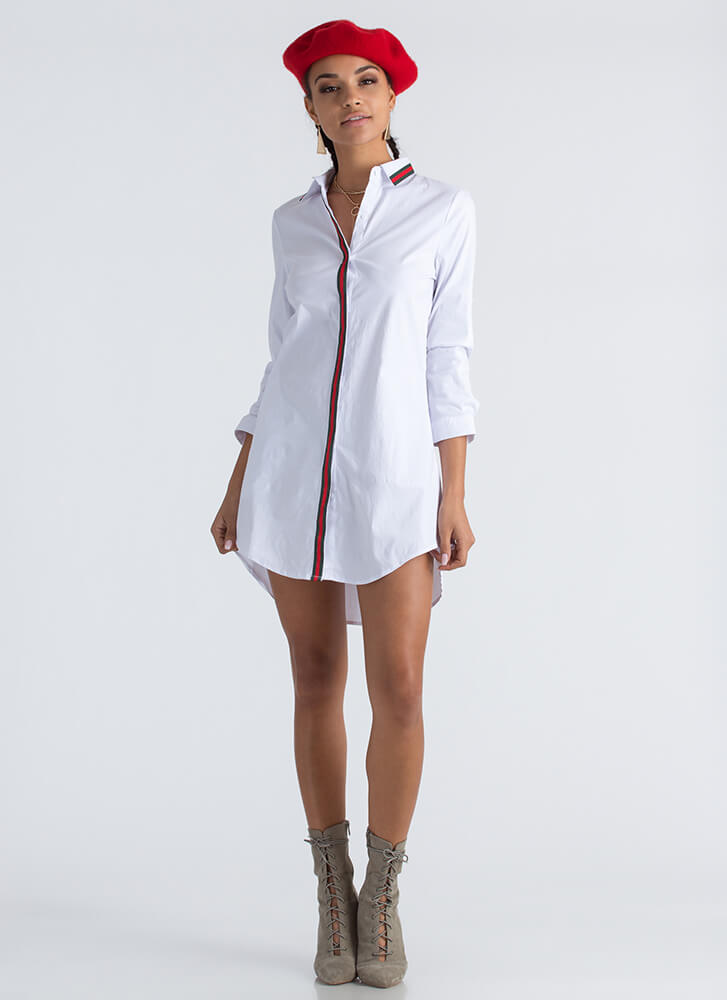 Clean Lines Striped Collared Shirt Dress WHITE