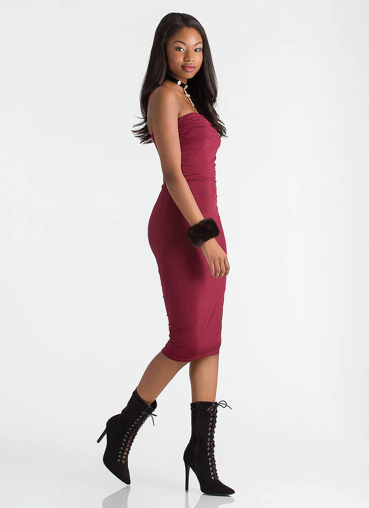 Ruching For The Stars Strapless Dress BURGUNDY