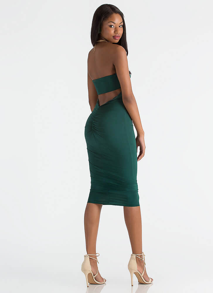 Ruching For The Stars Strapless Dress HUNTERGREEN
