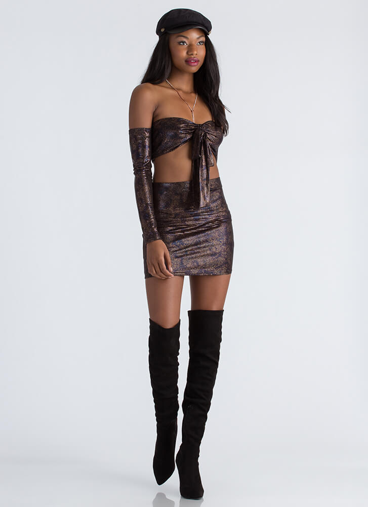 Slither Away Scaled Top And Skirt Set BLACKMULTI (Final Sale)