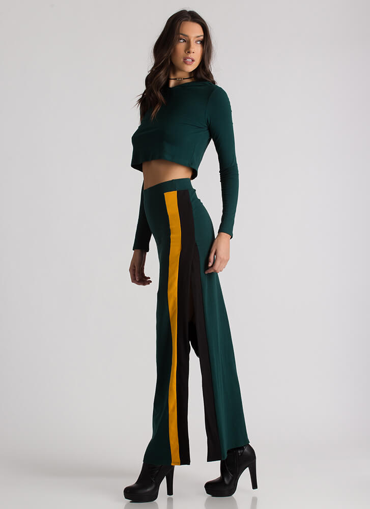 Stripes And Slits Hoodie And Skirt Set HUNTERGREEN
