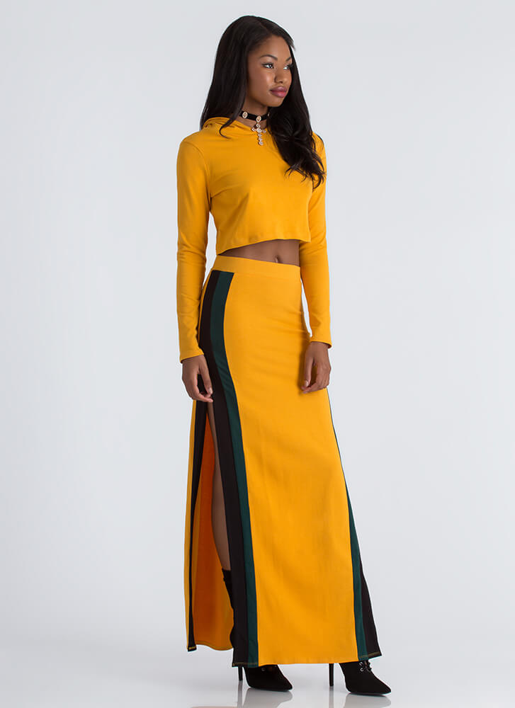 Stripes And Slits Hoodie And Skirt Set MUSTARD