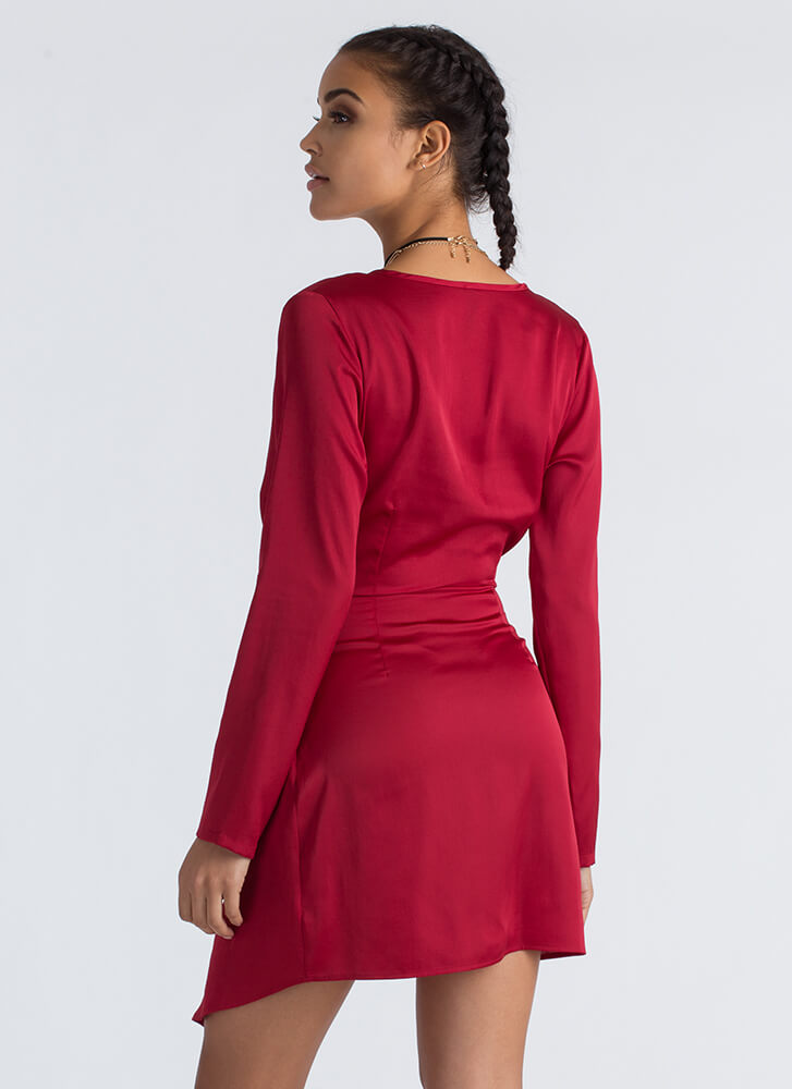 With A Twist Plunging Asymmetrical Dress RED