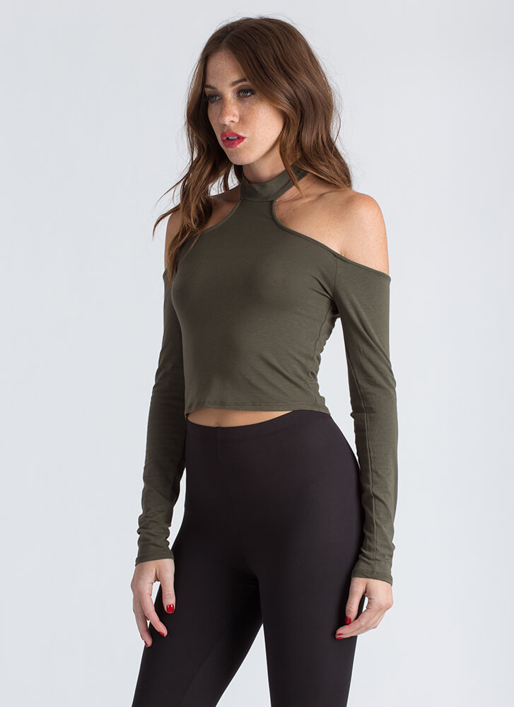 Yeah Whatever Cold-Shoulder Crop Top OLIVE
