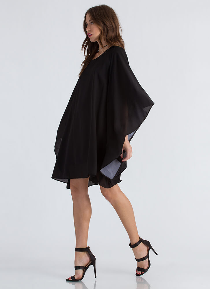 Social Butterfly Flutter Sleeve Dress BLACK (Final Sale)