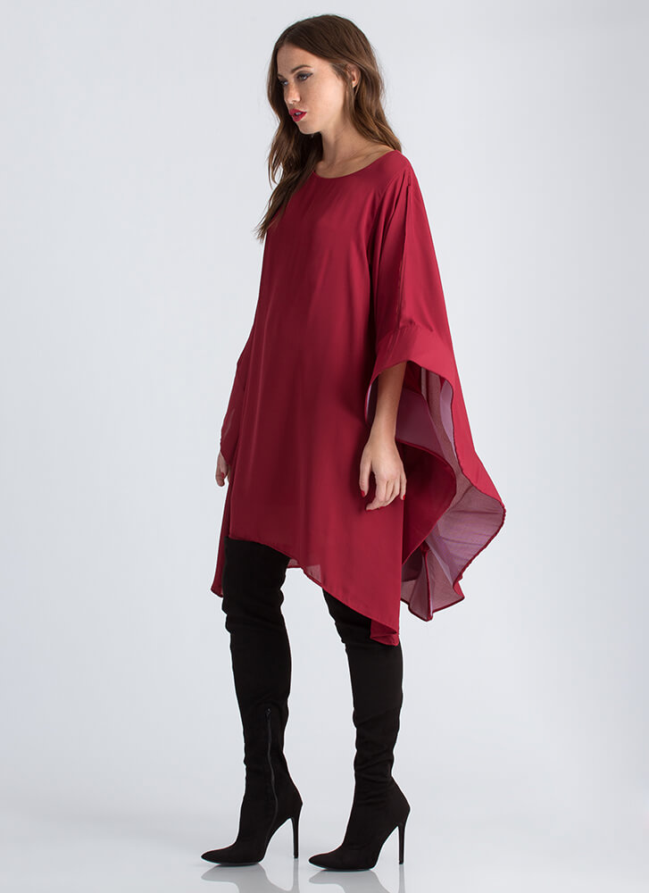 Social Butterfly Flutter Sleeve Dress BURGUNDY (Final Sale)