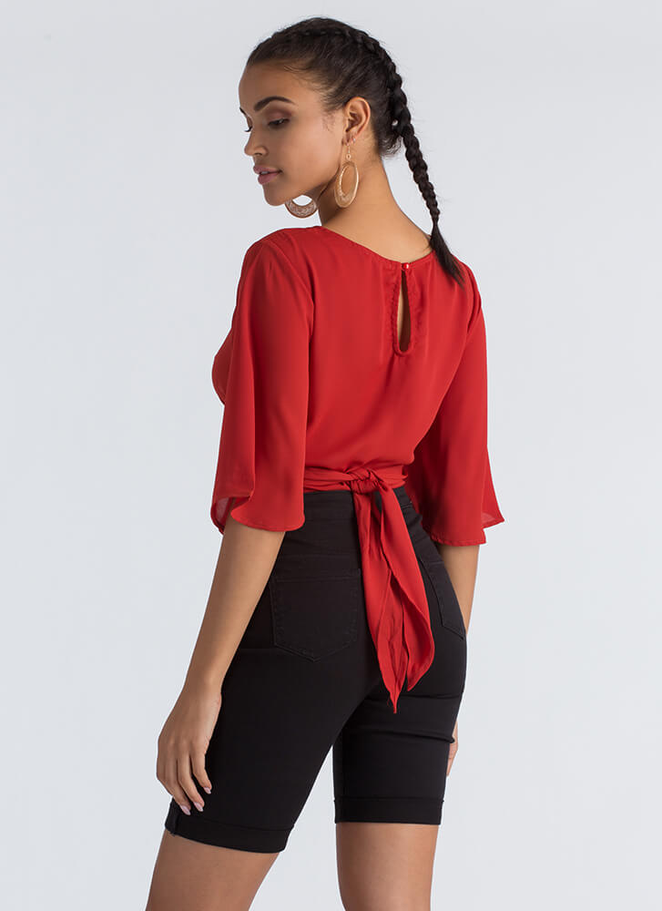 Wrap Skills Bell Sleeve Cropped Blouse BRICK