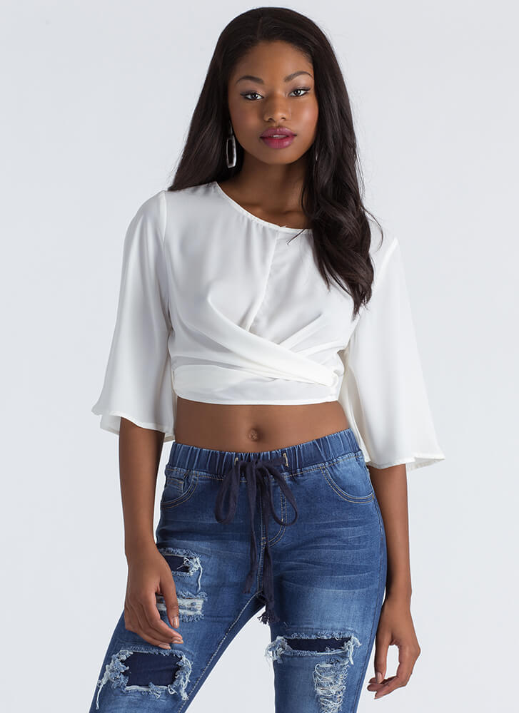 Wrap Skills Bell Sleeve Cropped Blouse WHITE