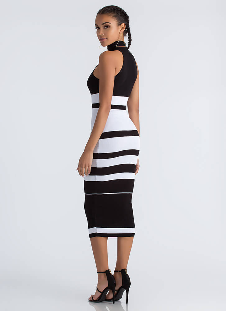 Graphic Content Ahead Striped Knit Dress BLACK