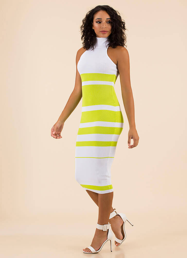 Graphic Content Ahead Striped Knit Dress LIME
