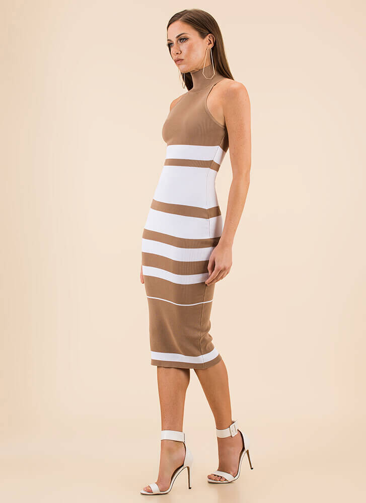 Graphic Content Ahead Striped Knit Dress LTTAUPE