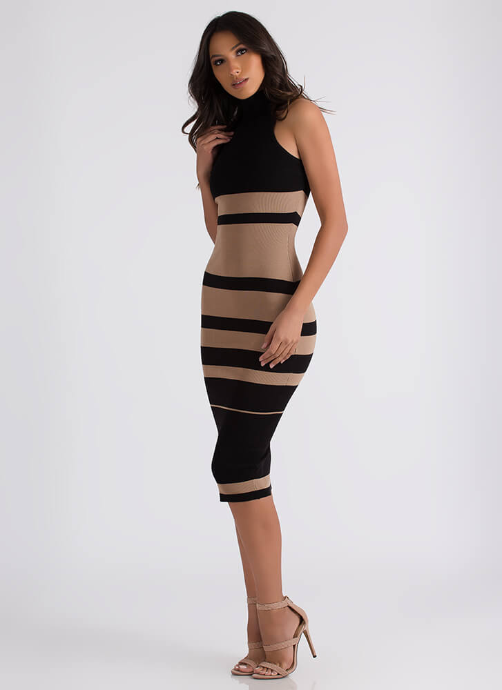 Graphic Content Ahead Striped Knit Dress MOCHA