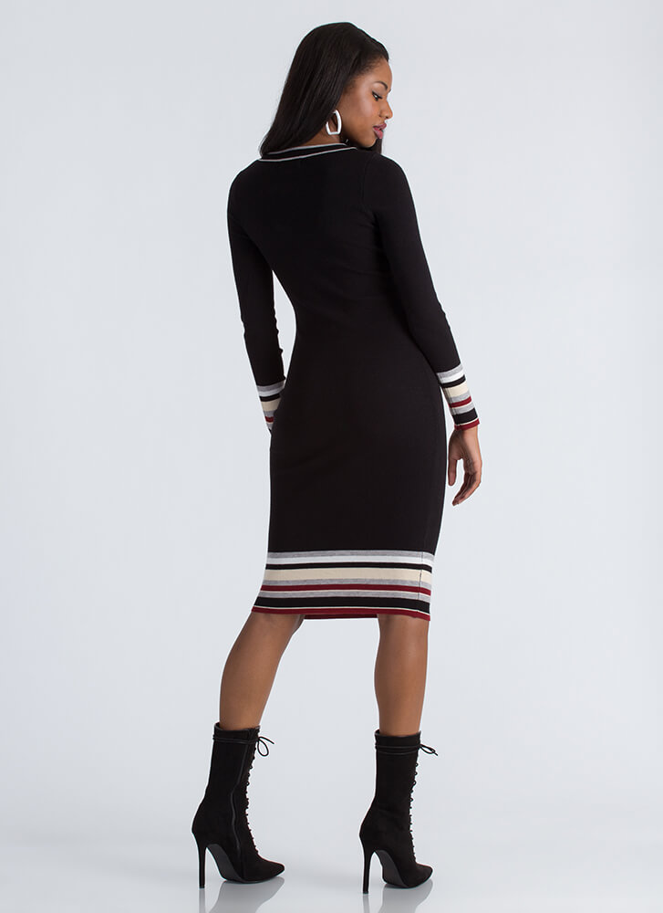 Bottom Line Striped Accent Knit Dress BLACK