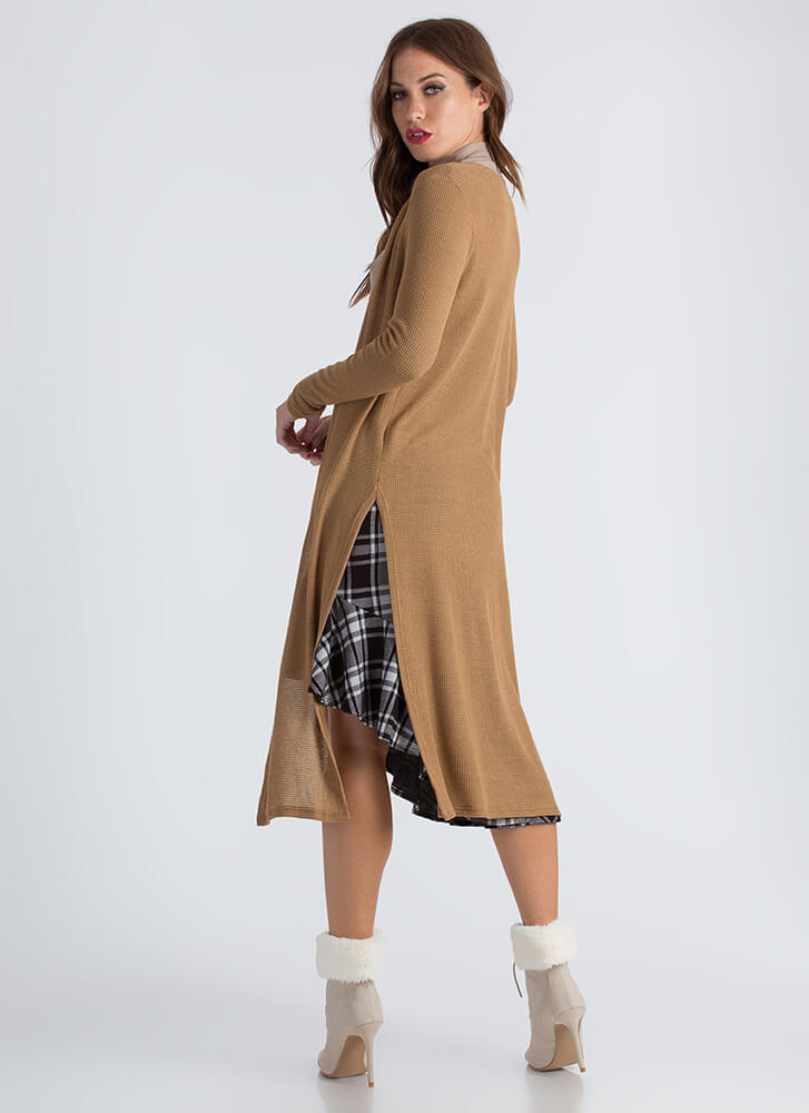 On The Double Slit Duster Cardigan CAMEL