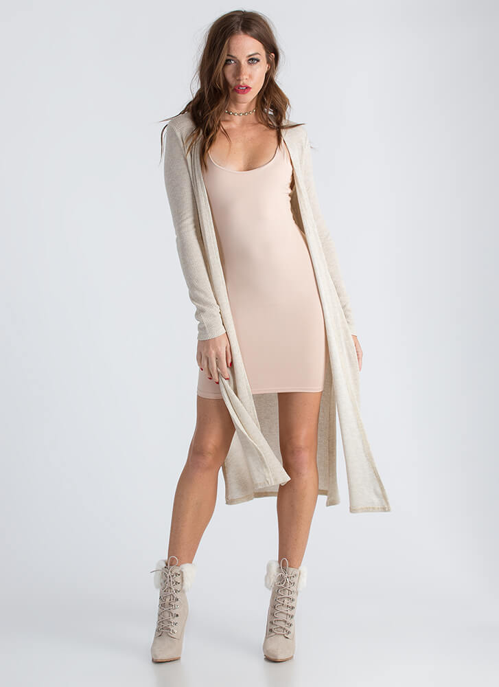 On The Double Slit Duster Cardigan OATMEAL
