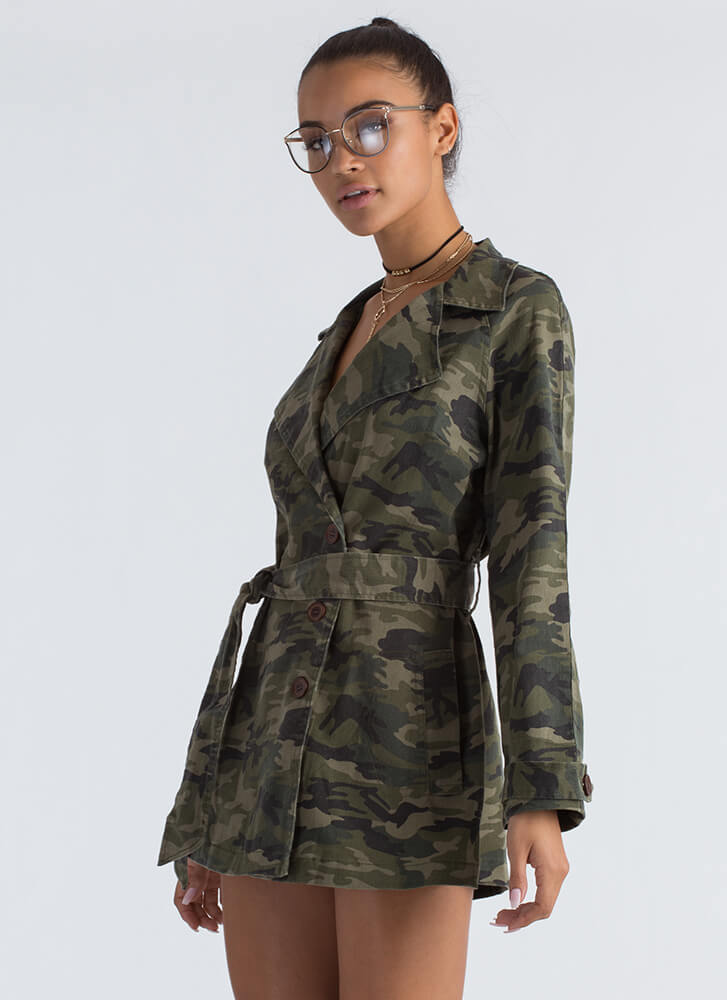 Totally In Command Camo Belted Jacket CAMOUFLAGE