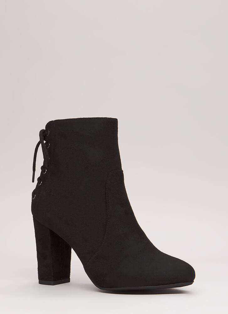Turn Around Chunky Lace-Back Booties BLACK