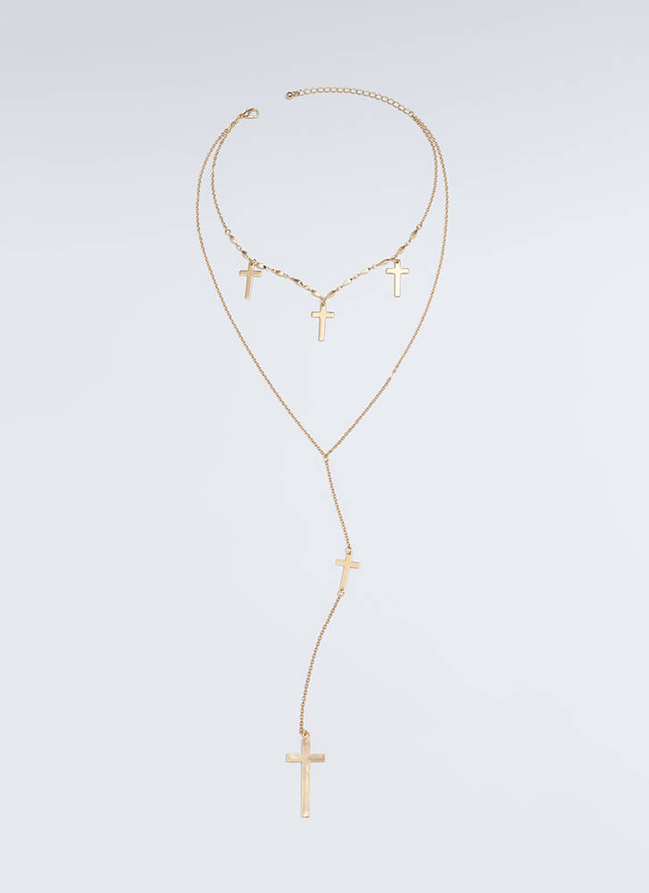 Take Five Cross Charm Necklace GOLD