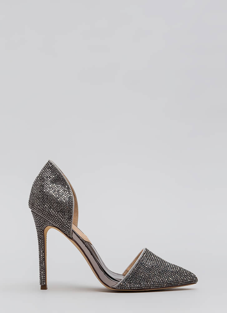 Walking Gems Pointy Jeweled Heels PEWTER