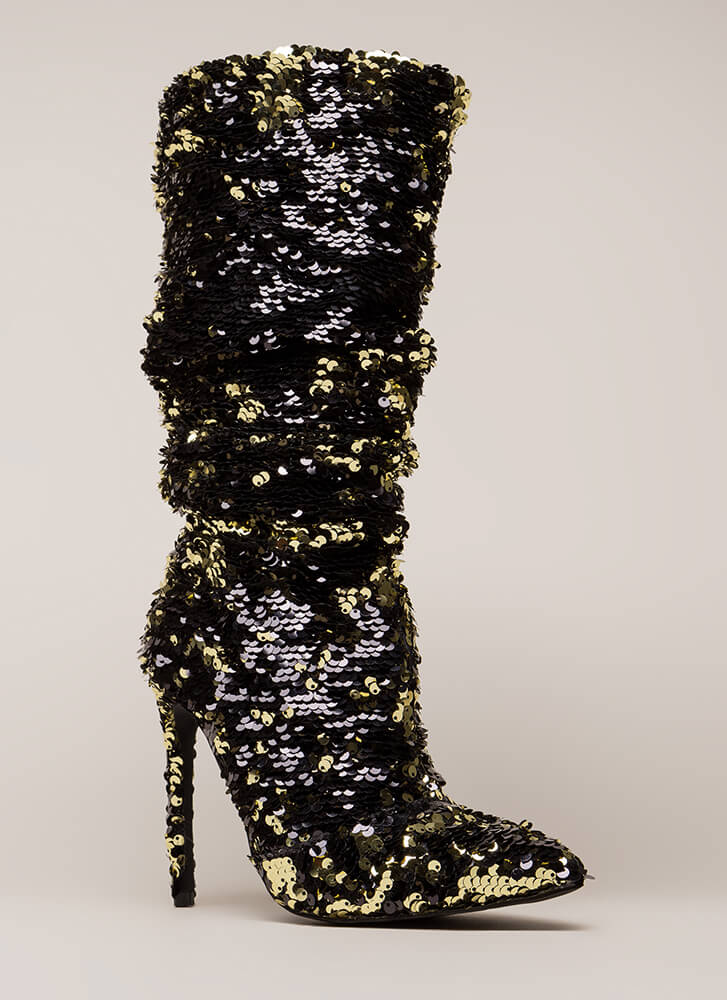 Party Over Here Slouchy Sequined Boots BLACK