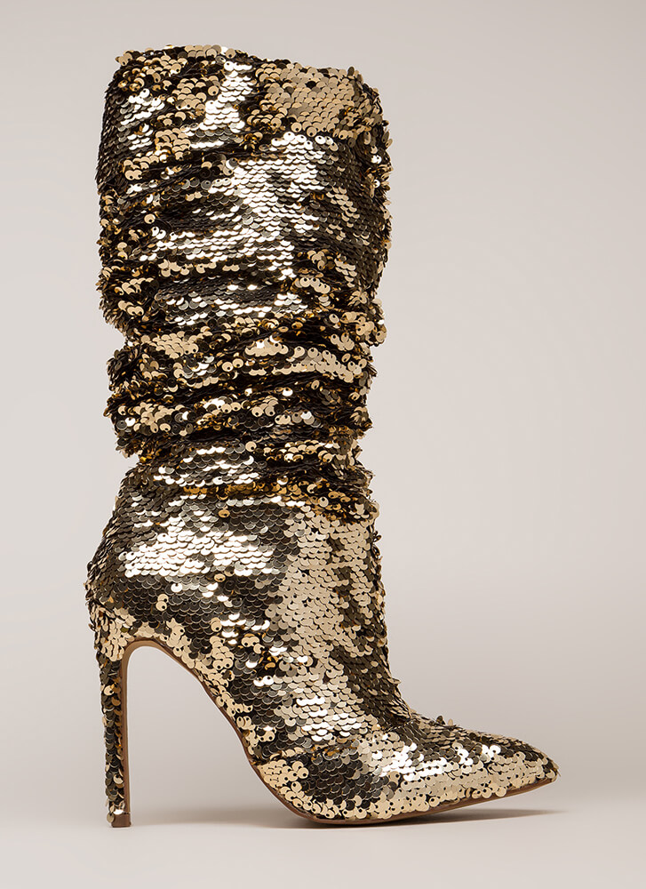 Party Over Here Slouchy Sequined Boots GOLD