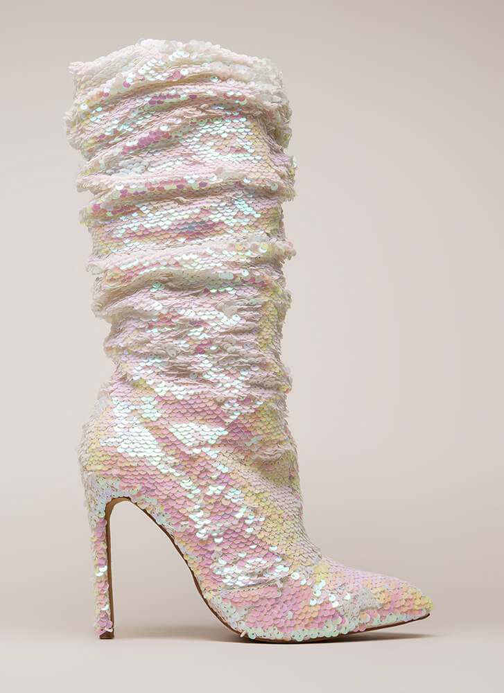 Party Over Here Slouchy Sequined Boots PINK