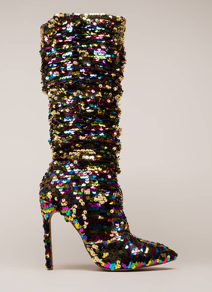 Party Over Here Slouchy Sequined Boots RAINBOW