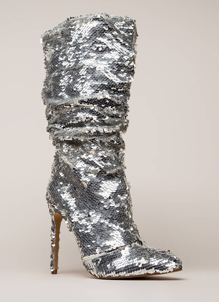 Party Over Here Slouchy Sequined Boots SILVER