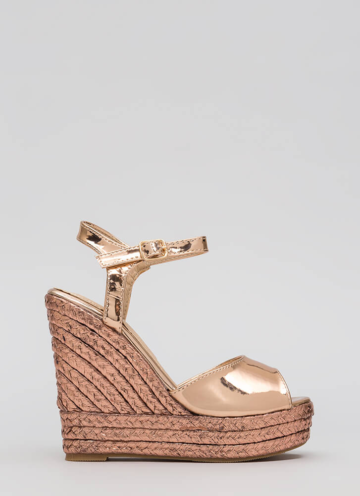 Day To Night Metallic Espadrille Wedges ROSEGOLD (Final Sale)