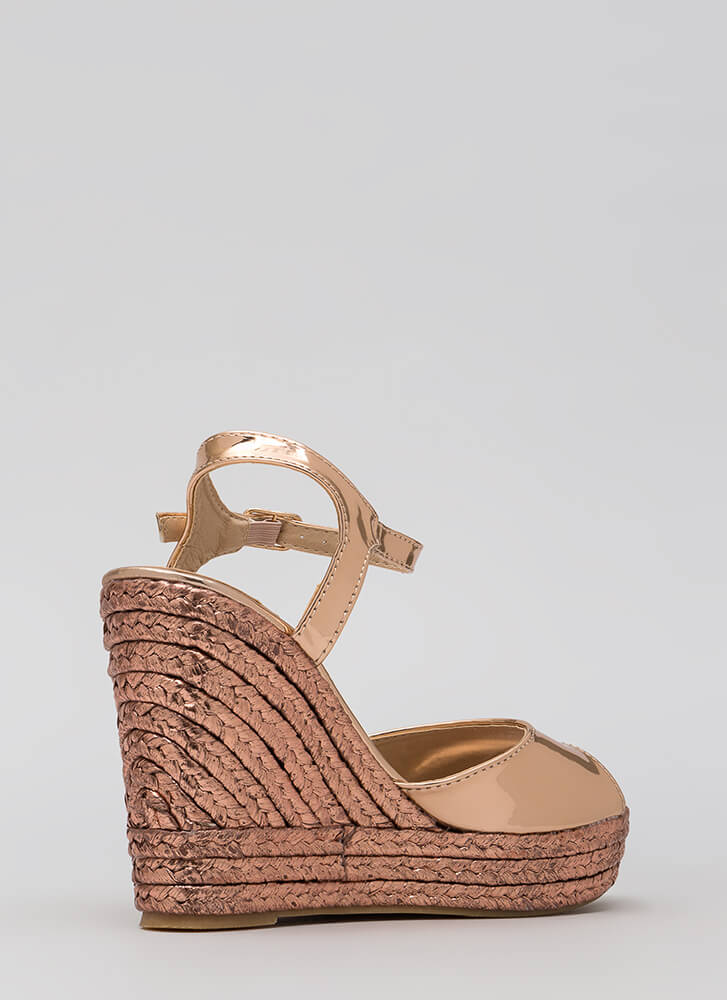 Day To Night Metallic Espadrille Wedges ROSEGOLD