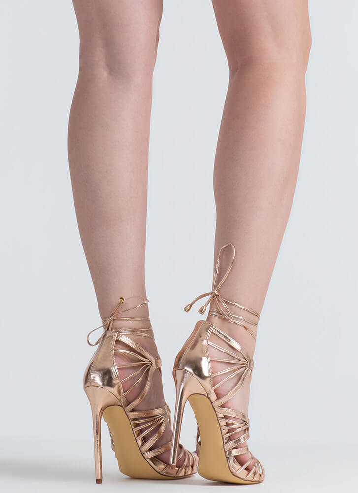 A Fan Of Straps Caged Metallic Heels ROSEGOLD