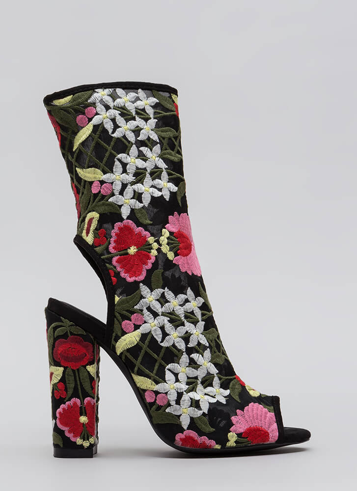 Garden Flowers Embroidered Mesh Booties BLACK (You Saved $28)