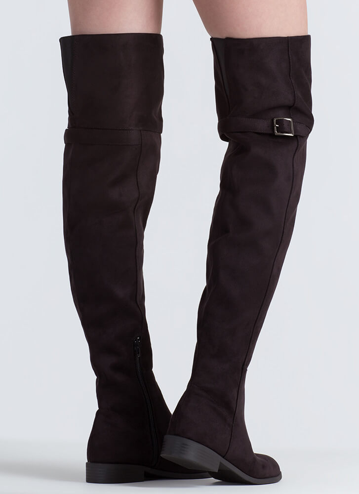 Tall Tale Faux Suede Thigh-High Boots BLACK
