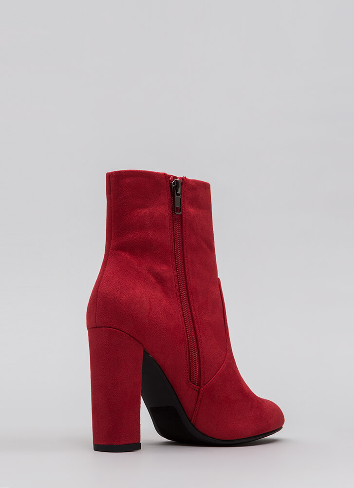 Take It Easy Chunky Faux Suede Booties LIPSTICK