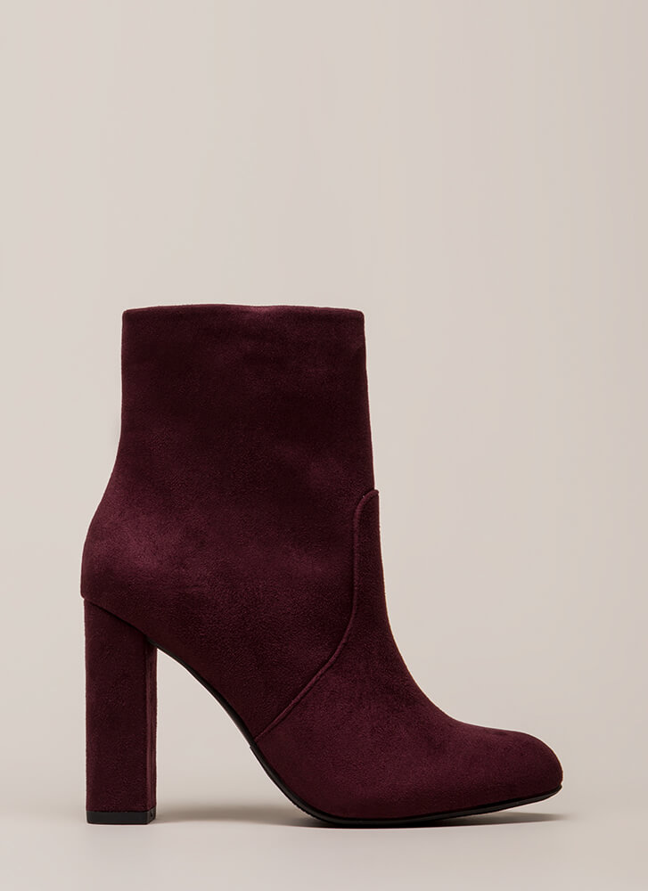 Take It Easy Chunky Faux Suede Booties VINO (Final Sale)