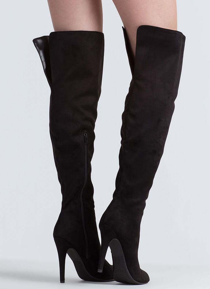 Take It From The Top Over-The-Knee Boots BLACK