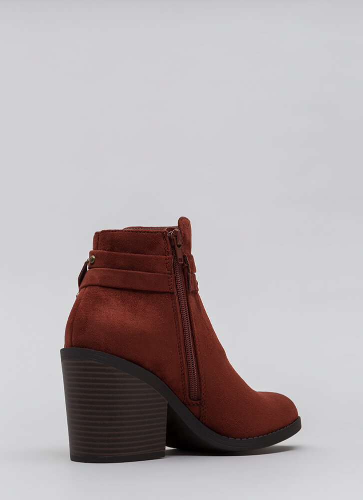 Get Thick Strappy Studded Block Booties DKRUST
