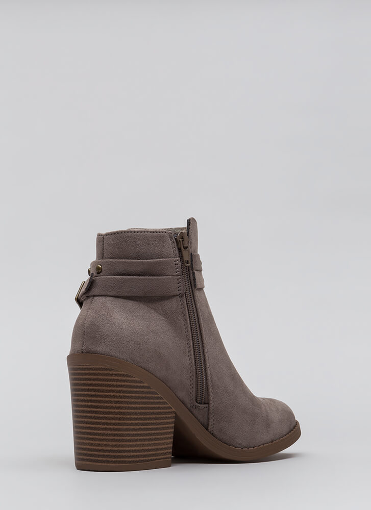 Get Thick Strappy Studded Block Booties GREY