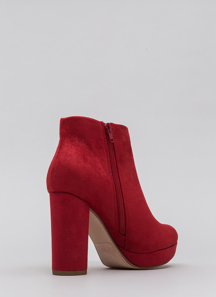 Day Trip Chunky Faux Suede Booties LIPSTICK