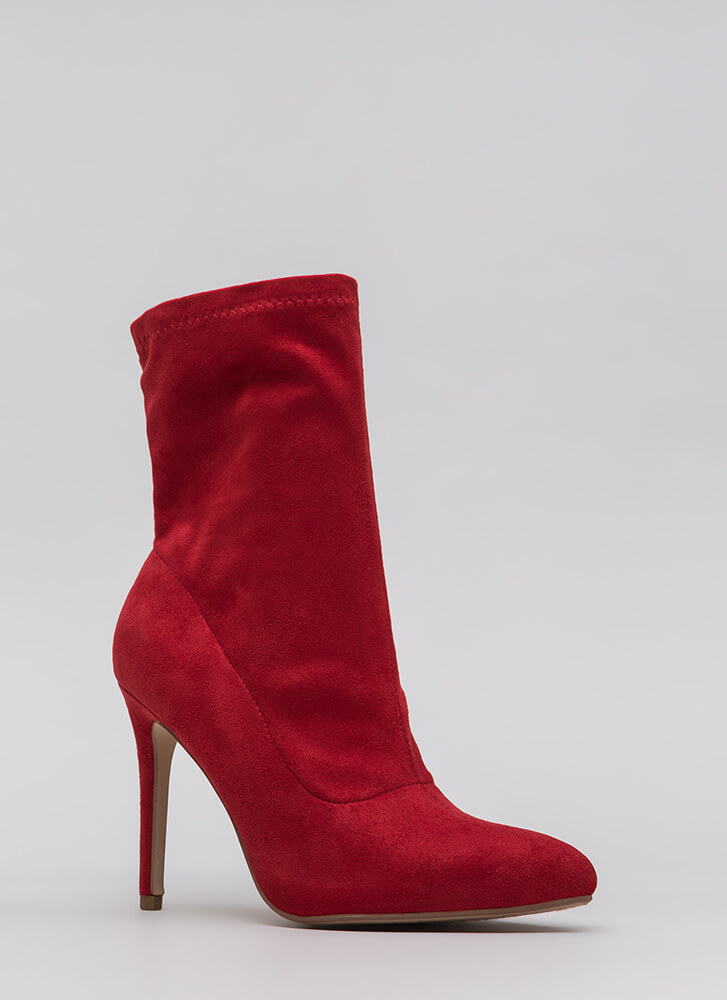 Tall Or Nothing Pointy Booties LIPSTICK
