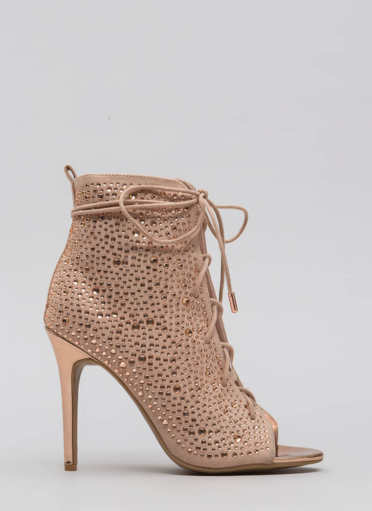 Bling The Heat Jeweled Lace-Up Booties ROSEGOLD