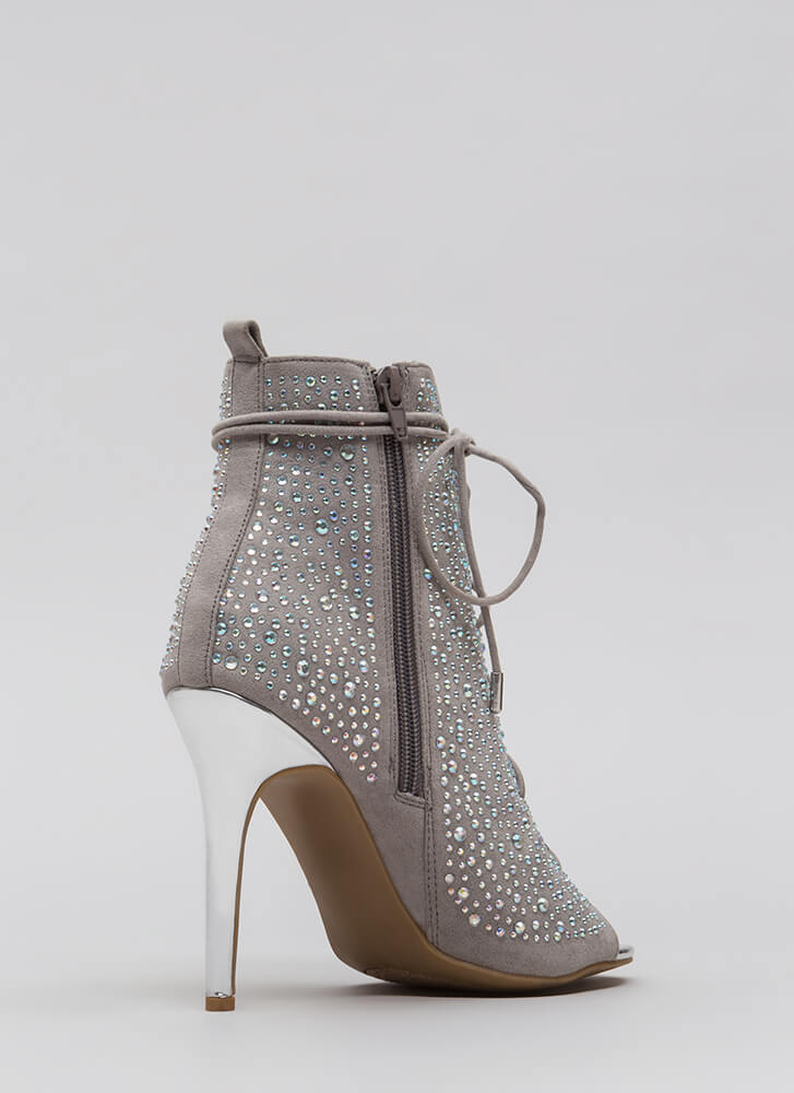 Bling The Heat Jeweled Lace-Up Booties SILVER