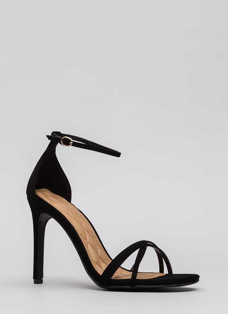 The Skinny Faux Nubuck Strappy Heels BLACK