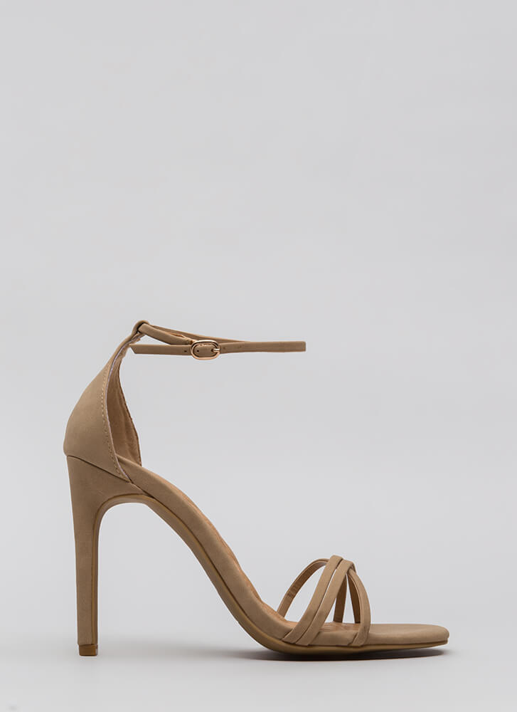 The Skinny Faux Nubuck Strappy Heels NATURAL