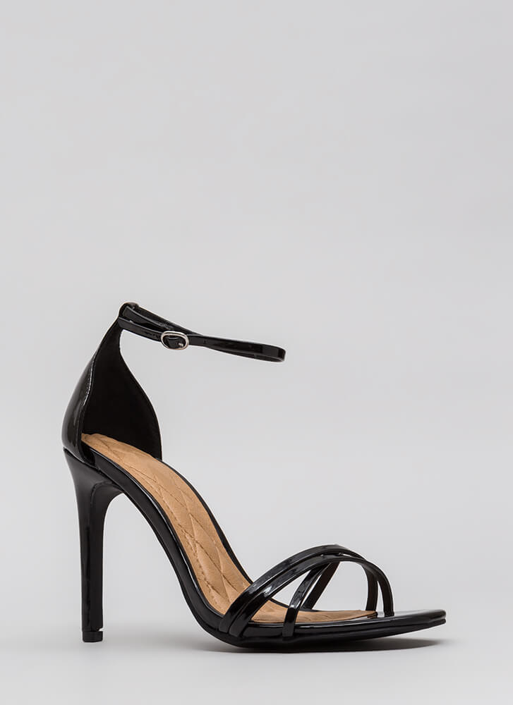 The Skinny Faux Patent Strappy Heels BLACK