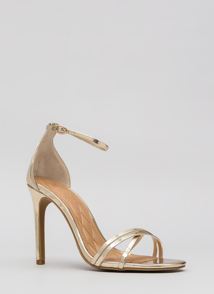 The Skinny Faux Patent Strappy Heels GOLD