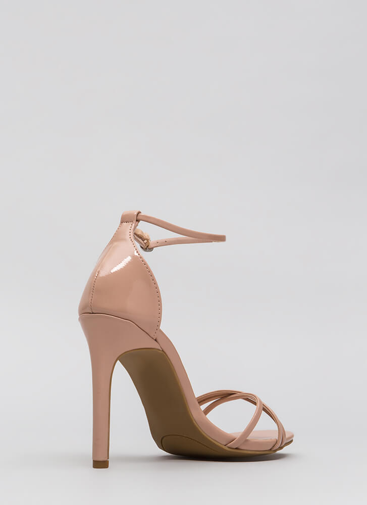 The Skinny Faux Patent Strappy Heels NUDE