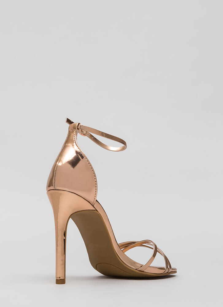 The Skinny Faux Patent Strappy Heels ROSEGOLD